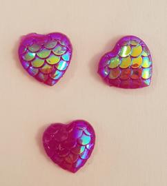 Rhinestone hart snake - 10 stuks - Paars AB