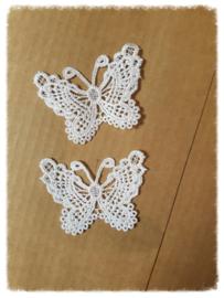Kanten vlinders Ivoor - 5 stuks