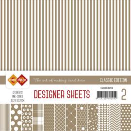 CDDSKB002 Designer Sheets 15x15cm - Koffie Bruin - Card Deco