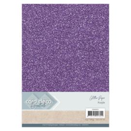 CDEGP015 Glitterkarton A4 250gr - Paars - 6 stuks - Card Deco