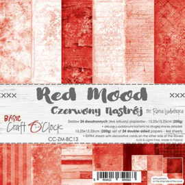 """CC-ZM-BC13 Paper Collection Set 6""""*6"""" Basic 13 - Red Mood, 250 gsm (24 sheets, 12 designs, 4x6 double-sided sheets, bonus design - 2 sheets)"""