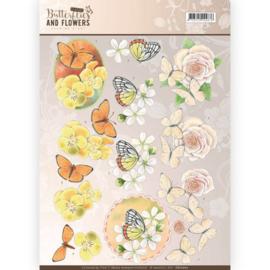 CD11001 Knipvel A4  - Butterflies and Flowers- Jenine's Art