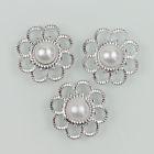 Zilveren bloem met parel - Wit - 5 stuks