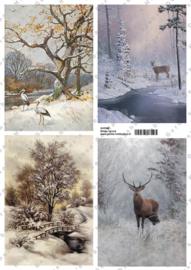 GH3348 Vintage vel - Winterlandschap Groot (4 plaatjes) - Gerda's Hobbyshop