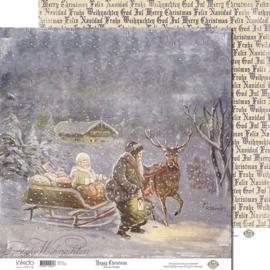 SM12481 Scrappapier dubbelzijdig - Santa Sledge - Inkido