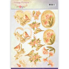 CD11049 Knipvel A4 - Vintage Flowers - Jenine's Art