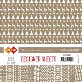 CDDSKB001 Designer Sheets 15x15cm - Koffie Bruin - Card Deco