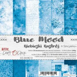 "CC-ZM-BC12 Paper Collection Set 6""*6"" Basic 12 - Blue Mood, 250 gsm (24 sheets, 12 designs, 4x6 double-sided sheets, bonus design - 2 sheets)"