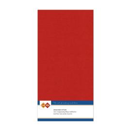 34 Kerstrood - Linnen Kaarten 4 kant 13.5x27cm - 10 stuks - 200 grams - Card Deco
