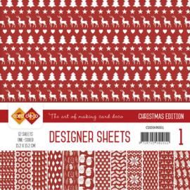 CDDSKR001 Designer Sheets 15x15cm - Kerst Rood - Card Deco