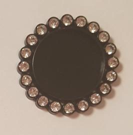 Cirkel 3cm met strass - per stuk - Zwart