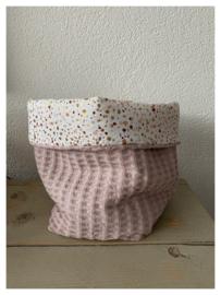 Commode mandje - Soft Poeder Roze / Glitter Dots