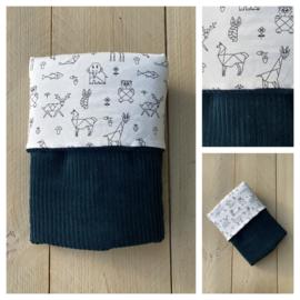 Dekentje - Corduroy Rib Sapphire / Origami Animals