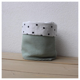 Commode mandje - Oud Groen / Dots