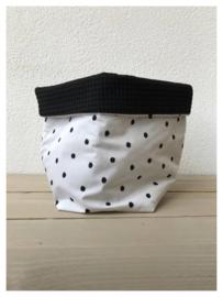 Commode mandje - Zwart / Dots