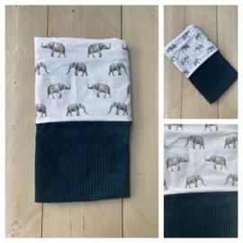 Dekentje - Corduroy Rib Sapphire / Olifantjes