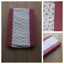 Aankleedkussenhoes Oud roze / Veertjes