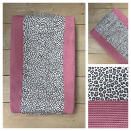Aankleedkussen hoes - Oud Roze / Leopard Grey