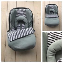 Maxi Cosi set - Saphire Knitted Cotton /  Stripe Katoen - Cabrio fix
