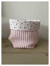 Commode mandje - Soft Pink / Hartjes
