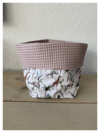 Commode mandje - Poeder Roze / Safari