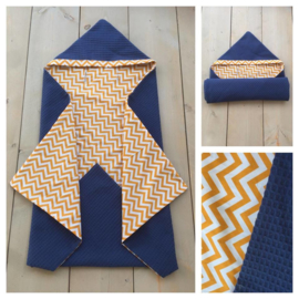 Wikkeldeken Jeans Blauw / Oker Zigzag