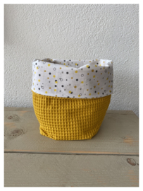 Commode mandje - Oker / Mixed Dots