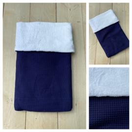 Dekentje - Jeans Blauw / Cuddle Fleece Wit