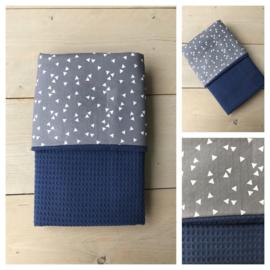 Dekentje - Jeans Blauw / Triangel Grijs