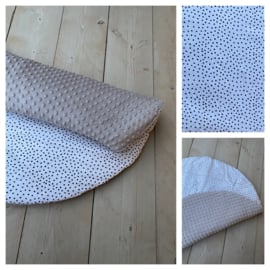Boxkleed  Rond - Taupe / Small Dots