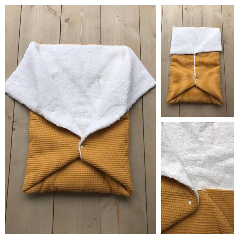 Multi deken - Oker geel / Borg-Teddy Wit