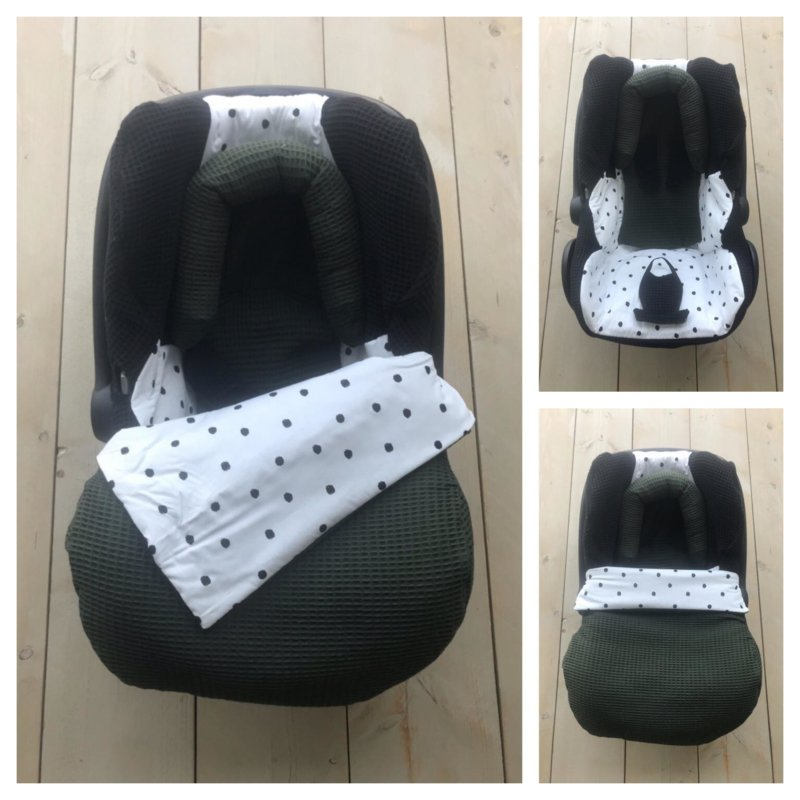 Maxi Cosi set - Zwart-Army /  Dots - Cabrio Fix