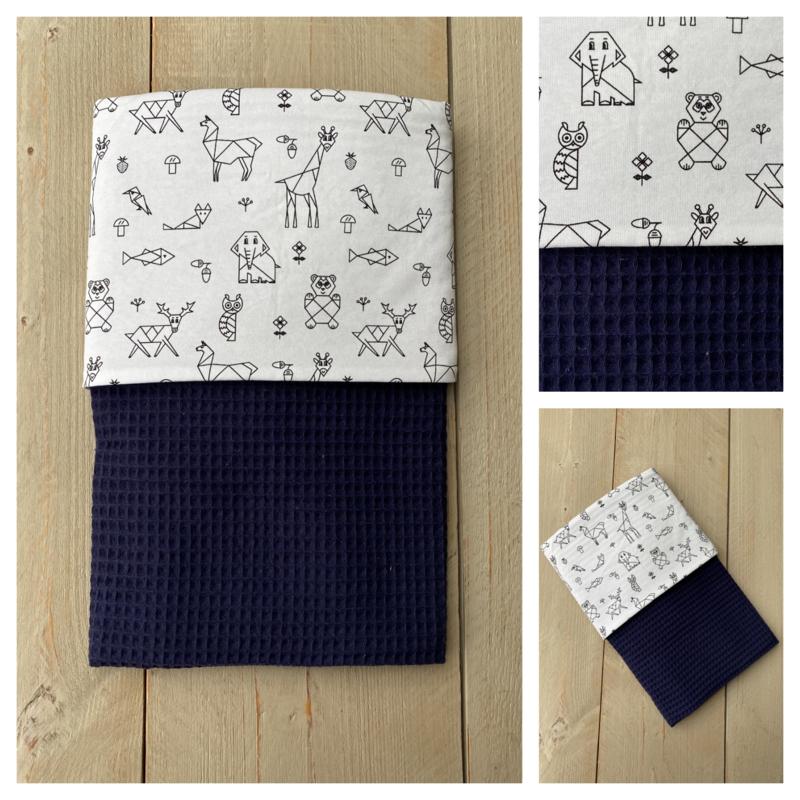 Dekentje - Jeans Blauw / Origami Animals