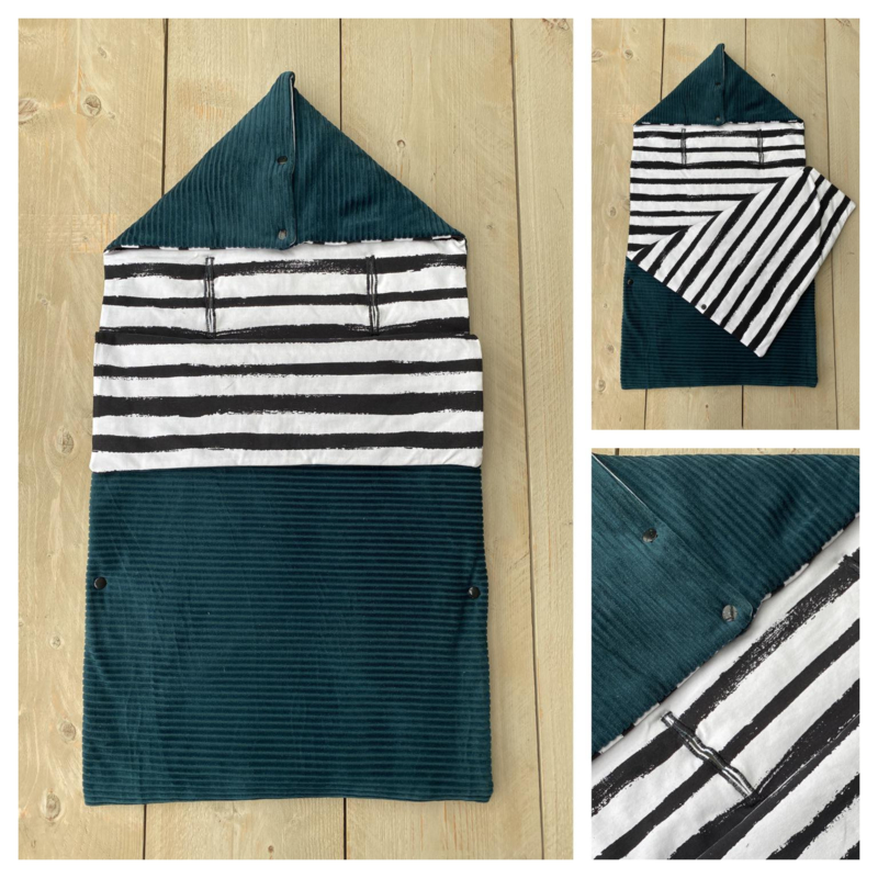 Voetenzak - Corduroy Rib Sapphire / Stripes