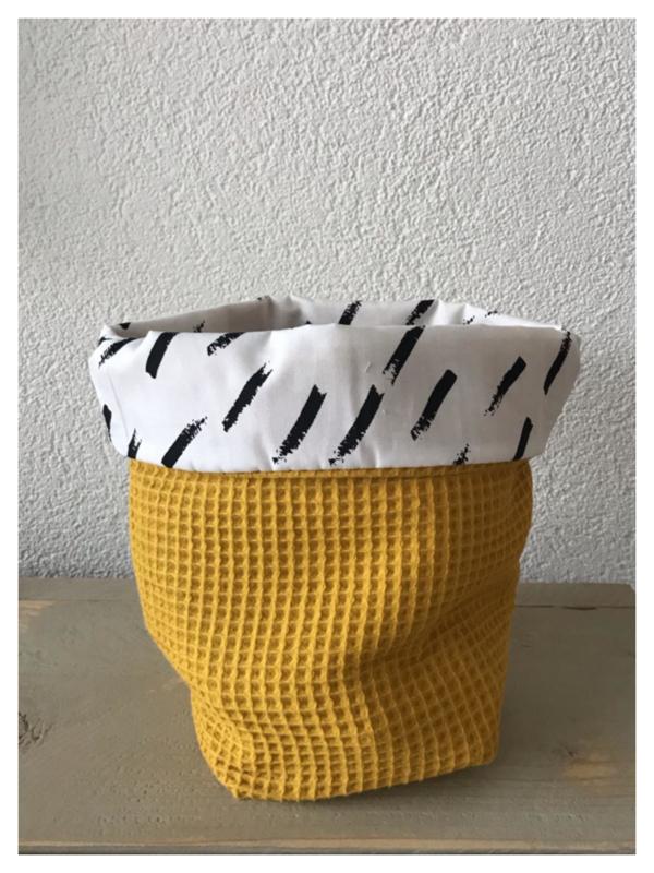 Commode mandje - Oker Geel / Diagonal Stripes