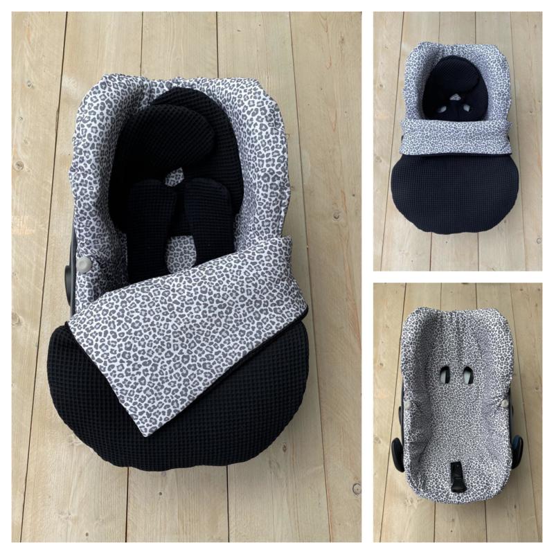 Maxi Cosi set - Zwart / Leopard Grey - Pebble