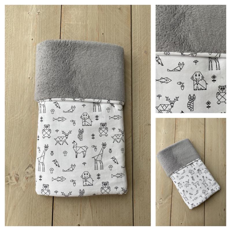 Dekentje - Cuddle Fleece Grijs / Origami Animals