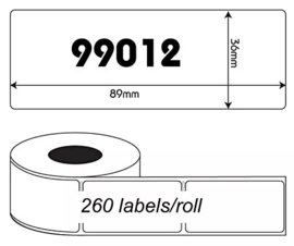 Dymo 99012 compatible adreslabel, 89 x 36mm, 260 labels per rol