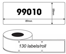 Dymo 99010 / S0722370 compatible adreslabel, 89 x 28mm, 130 labels per rol