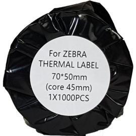 Zebra compatible thermische etiketten 70x50 mm wit