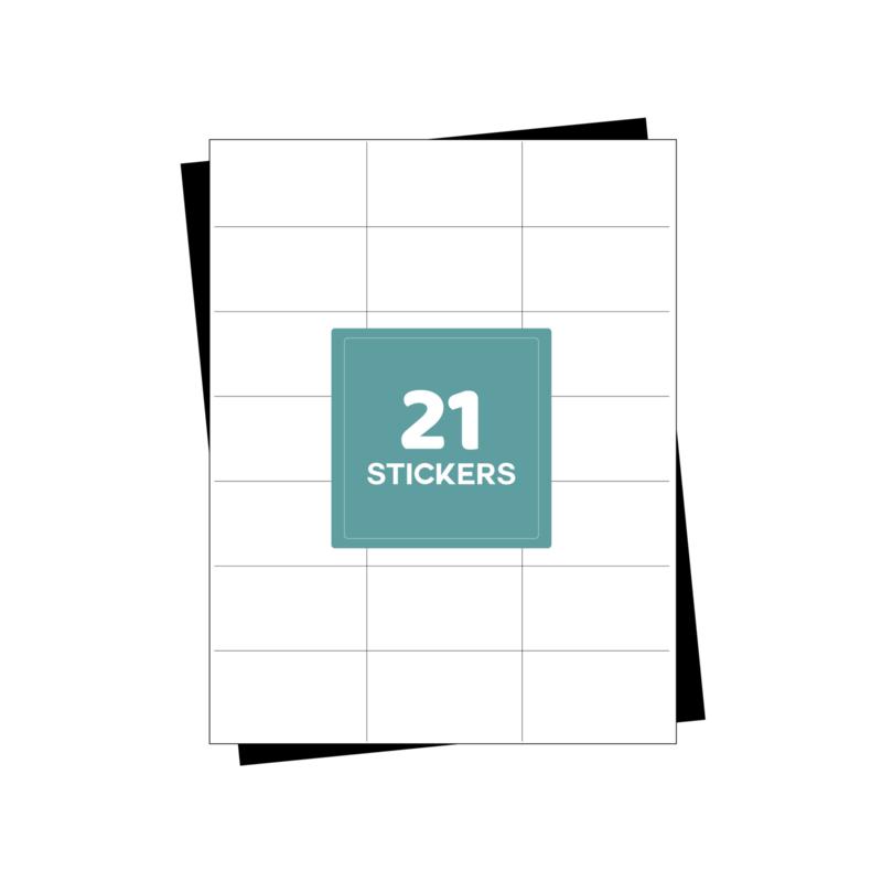 A4 etiketten stickervellen 21 per vel - 2100 etiketten (70mm x 42.3mm x 21/A4)