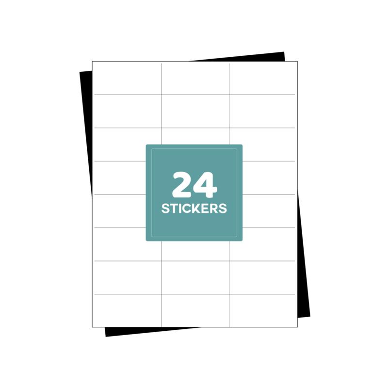 A4 etiketten stickervellen 24 per vel - 2400 etiketten  (70mm x 37mm x 24/A4)