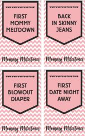 Mommy Milestone  wijn etiketten (4 stuks)