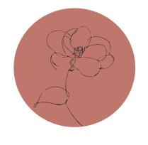 Muurdots | one line bloem Vintage roze