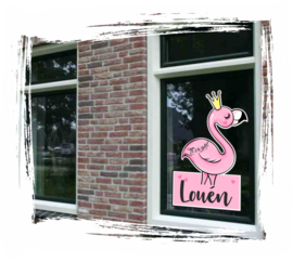 Raam sticker Full-color Flamingo