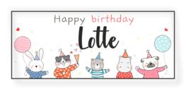 Verjaardags banner | Happy birthday met dieren feest