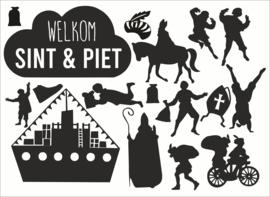Sinterklaas raamstickers set sint en pieten