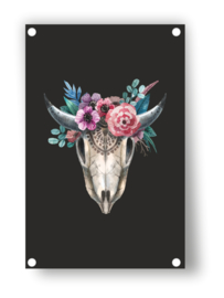Tuin Poster | skull met bloemen|  50x70 cm