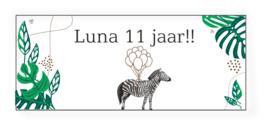 Verjaardags banner | botanic met zebra