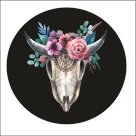 Muurdots |  buiten | zwart met bloemen skull